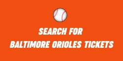 Orange banner with a white baseball that says - Search for Baltimore Oriole Tickets