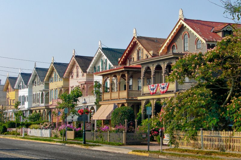 Photo of a beautiful row of houses with different pastel colors in Cape May NJ