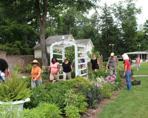 Image of People walking through the Gardens at Morven Museum and Gardens as Part of a Princeton NJ Day Trip